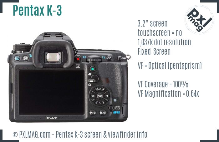 Pentax K-3 screen and viewfinder