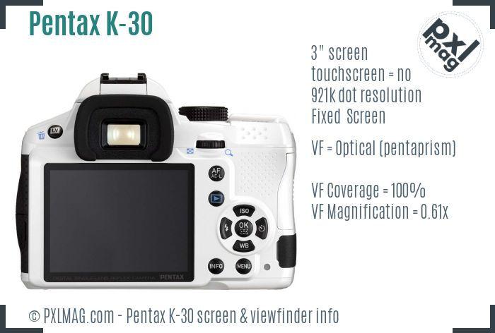 Pentax K-30 screen and viewfinder