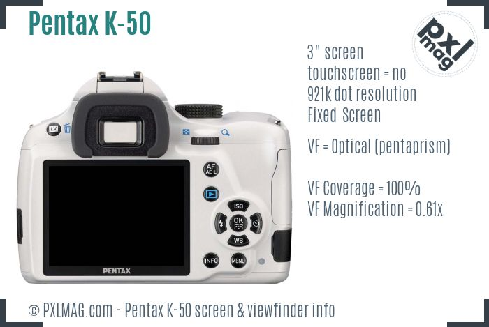 Pentax K-50 screen and viewfinder