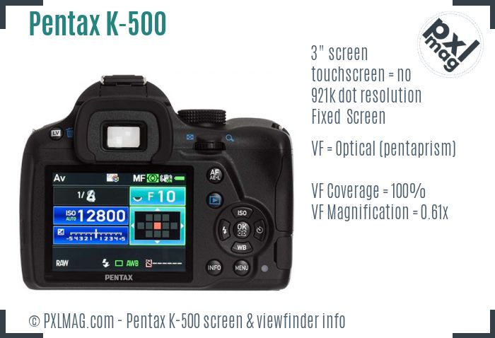 Pentax K-500 screen and viewfinder