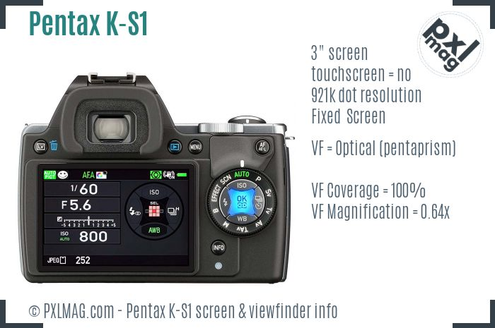 Pentax K-S1 screen and viewfinder