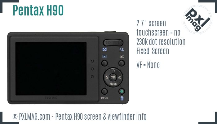 Pentax Optio H90 screen and viewfinder