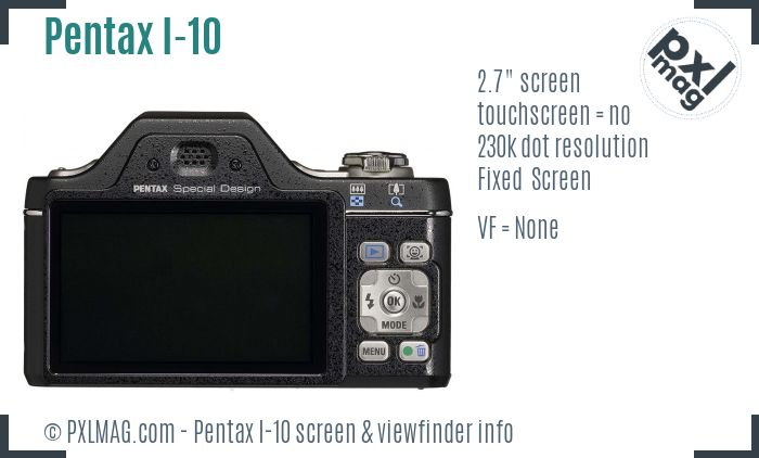Pentax Optio I-10 screen and viewfinder