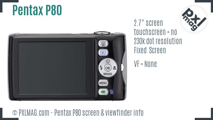 Pentax Optio P80 screen and viewfinder