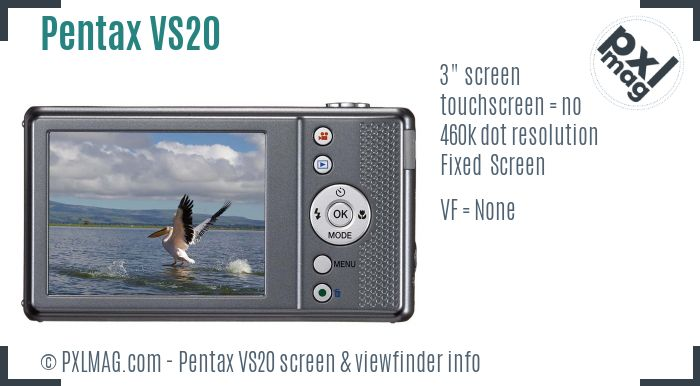Pentax Optio VS20 screen and viewfinder