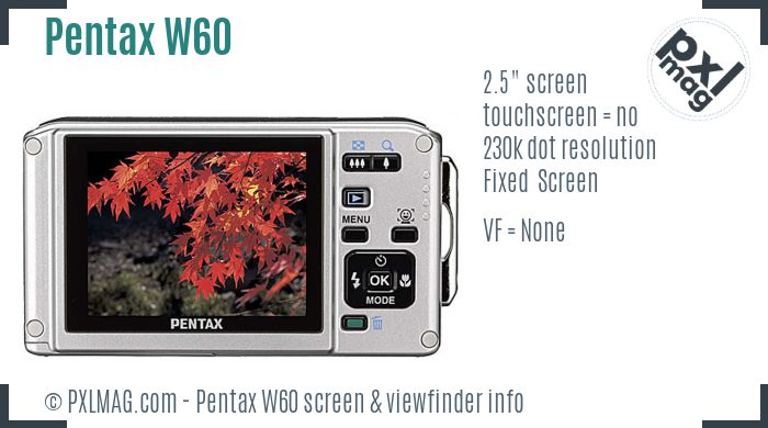 Pentax Optio W60 screen and viewfinder