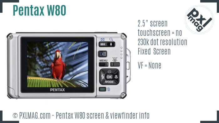 Pentax Optio W80 screen and viewfinder