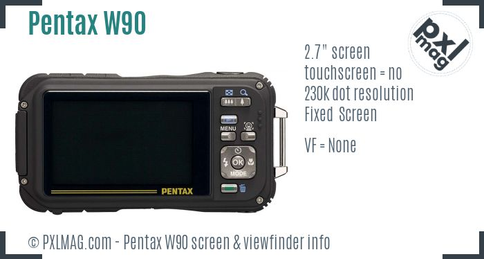 Pentax Optio W90 screen and viewfinder