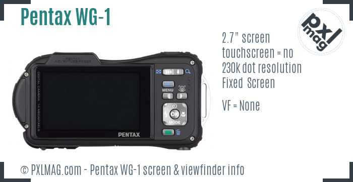 Pentax Optio WG-1 screen and viewfinder