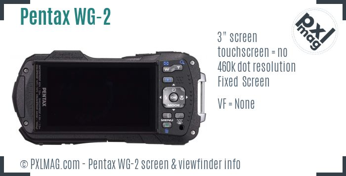 Pentax Optio WG-2 screen and viewfinder