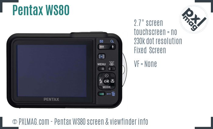 Pentax Optio WS80 screen and viewfinder