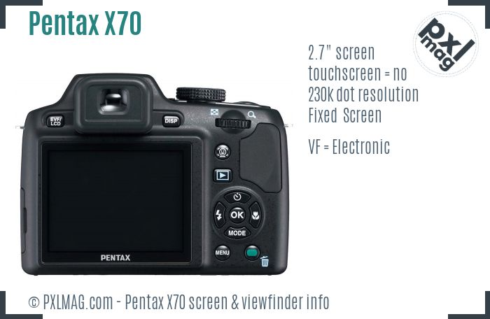 Pentax X70 screen and viewfinder