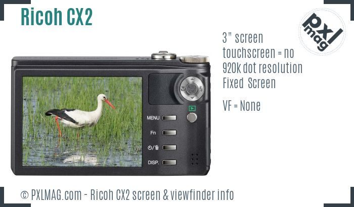 Ricoh CX2 screen and viewfinder