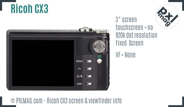 Ricoh CX3 screen and viewfinder