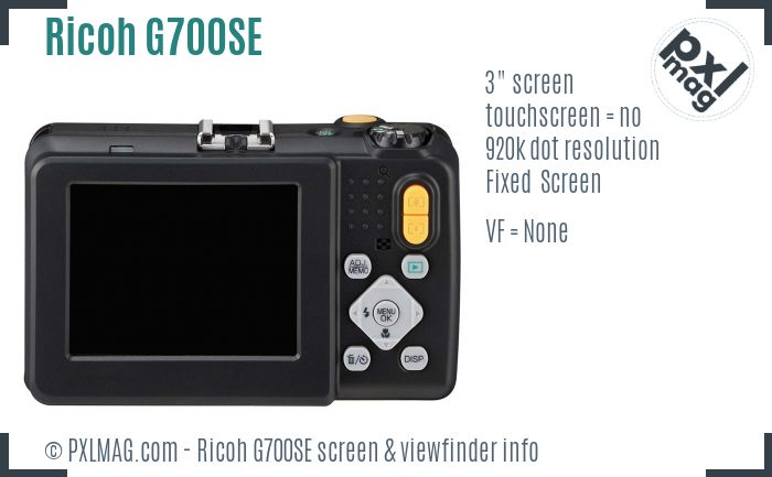 Ricoh G700SE screen and viewfinder
