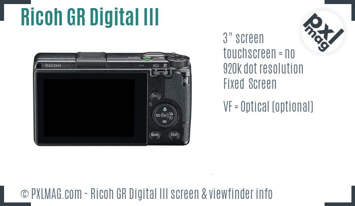 Ricoh GR Digital III screen and viewfinder
