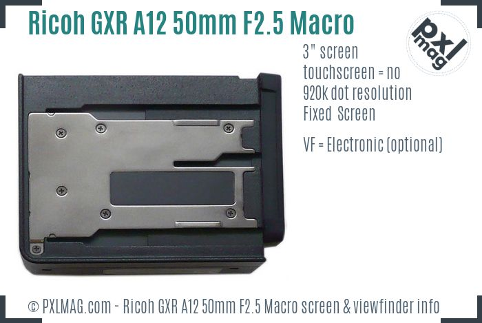 Ricoh GXR A12 50mm F2.5 Macro screen and viewfinder