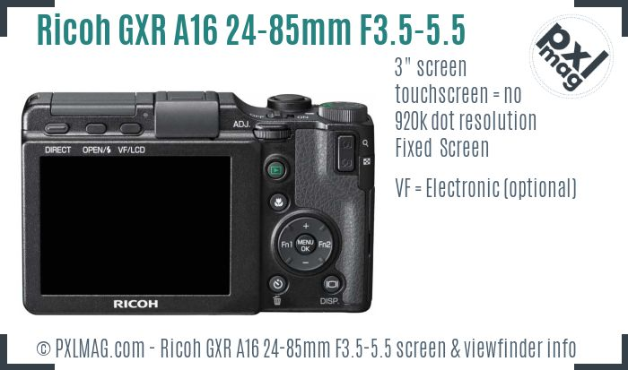 Ricoh GXR A16 24-85mm F3.5-5.5 screen and viewfinder