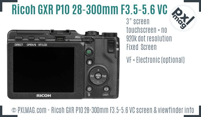 Ricoh GXR P10 28-300mm F3.5-5.6 VC screen and viewfinder