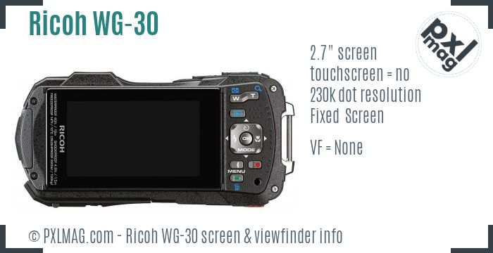 Ricoh WG-30 screen and viewfinder