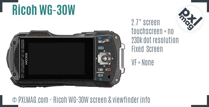 Ricoh WG-30W screen and viewfinder