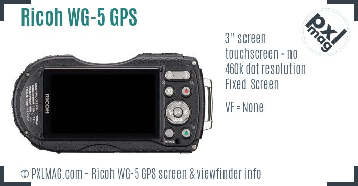 Ricoh WG-5 GPS screen and viewfinder