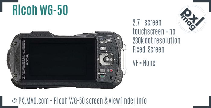 Ricoh WG-50 screen and viewfinder