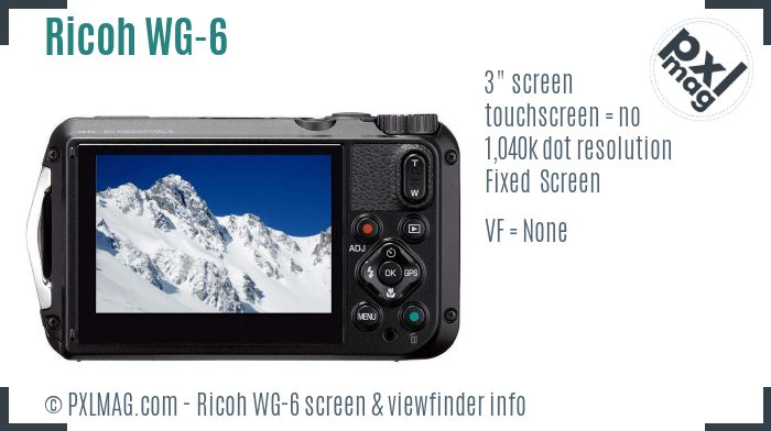 Ricoh WG-6 screen and viewfinder