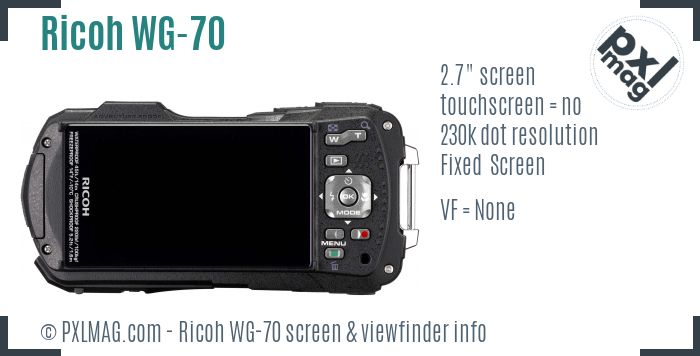 Ricoh WG-70 screen and viewfinder