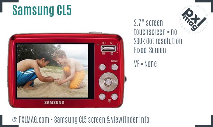 Samsung CL5 screen and viewfinder