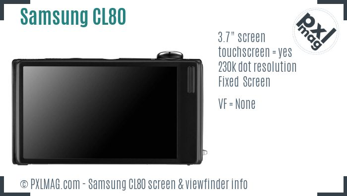 Samsung CL80 screen and viewfinder