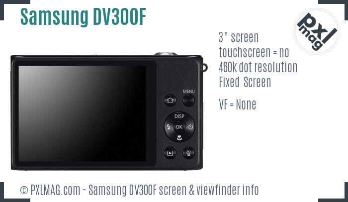 Samsung DV300F screen and viewfinder