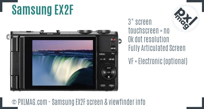 Samsung EX2F screen and viewfinder