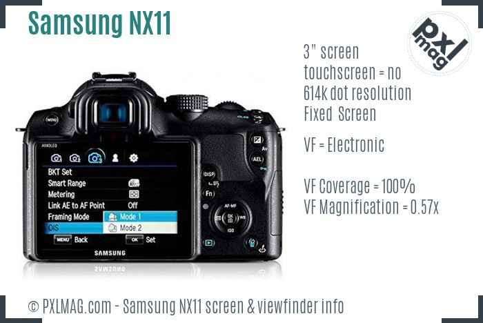 Samsung NX11 screen and viewfinder