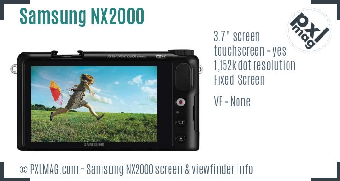 Samsung NX2000 screen and viewfinder