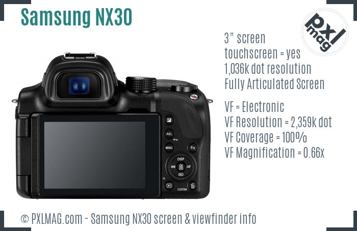 Samsung NX30 screen and viewfinder