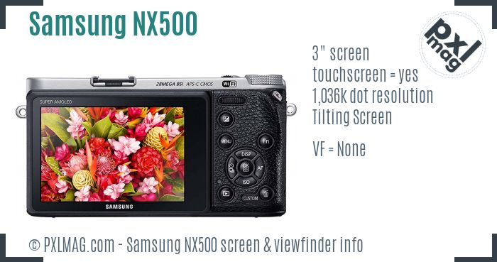Samsung NX500 screen and viewfinder