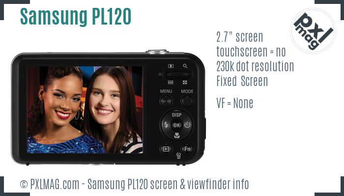 Samsung PL120 screen and viewfinder