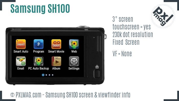 Samsung SH100 screen and viewfinder
