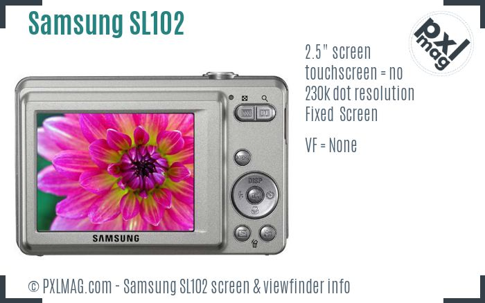 Samsung SL102 screen and viewfinder