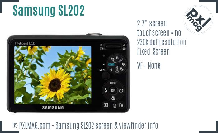 Samsung SL202 screen and viewfinder