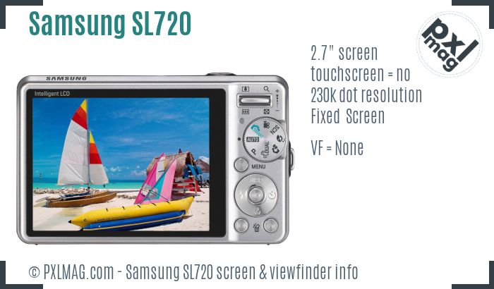 Samsung SL720 screen and viewfinder