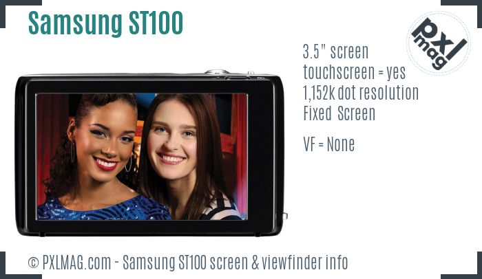 Samsung ST100 screen and viewfinder
