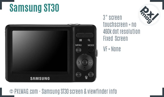 Samsung ST30 screen and viewfinder