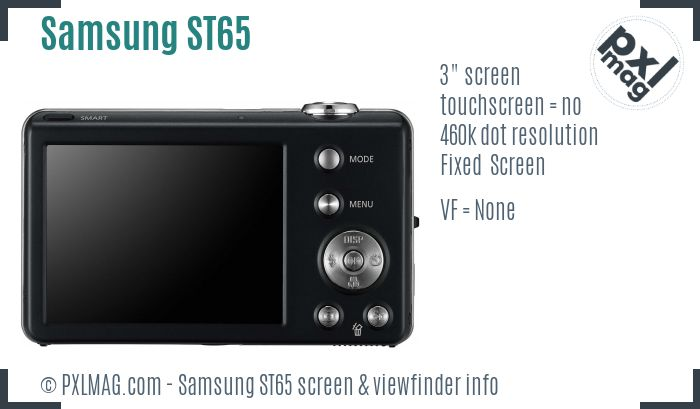 Samsung ST65 screen and viewfinder