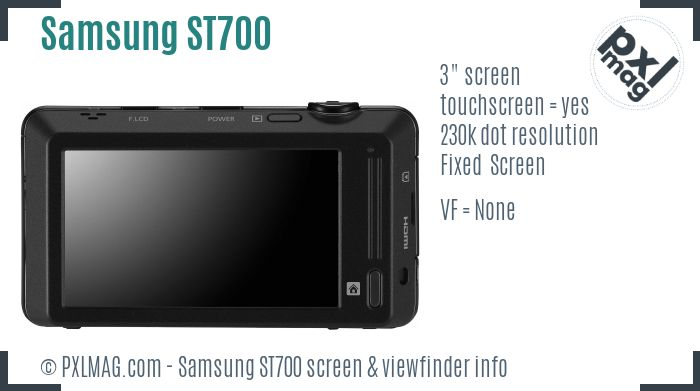 Samsung ST700 screen and viewfinder