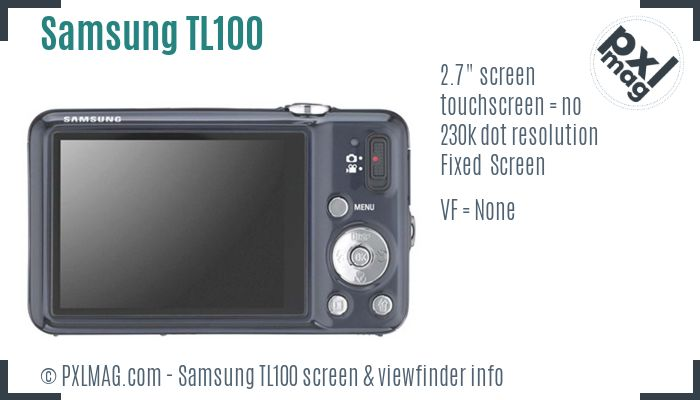 Samsung TL100 screen and viewfinder