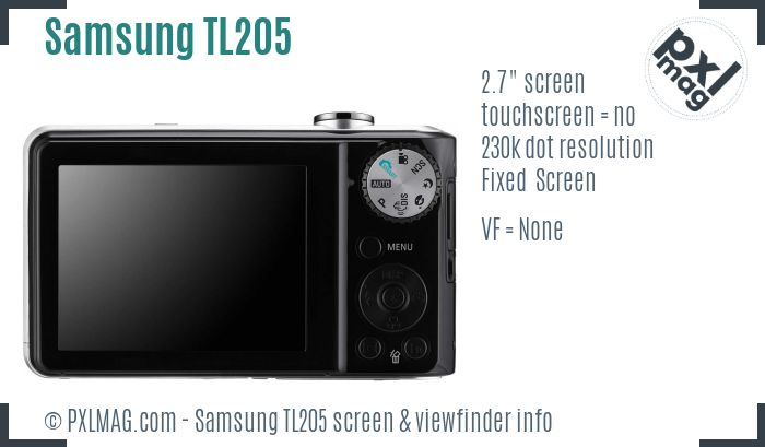 Samsung TL205 screen and viewfinder