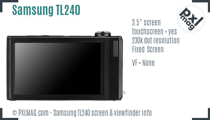 Samsung TL240 screen and viewfinder