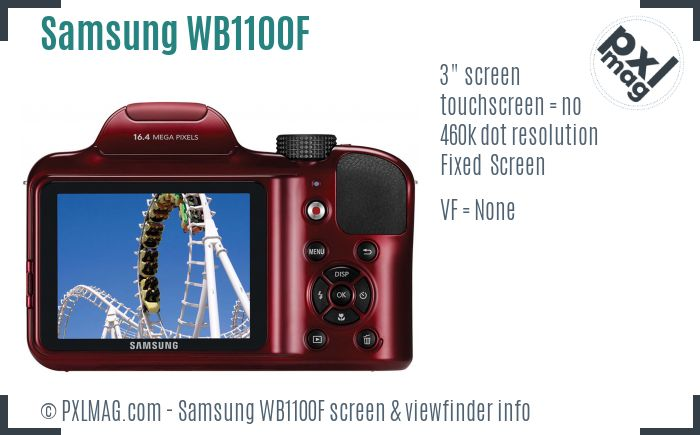 Samsung WB1100F screen and viewfinder